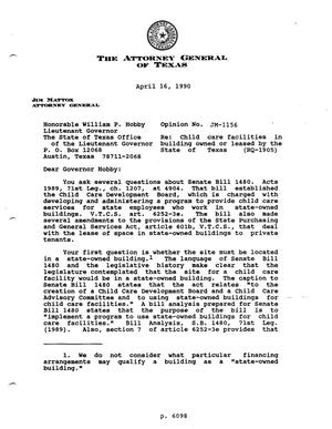Primary view of object titled 'Texas Attorney General Opinion: JM-1156'.