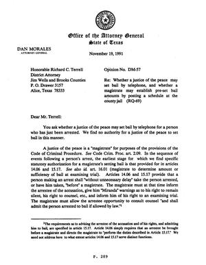 Primary view of object titled 'Texas Attorney General Opinion: DM-57'.
