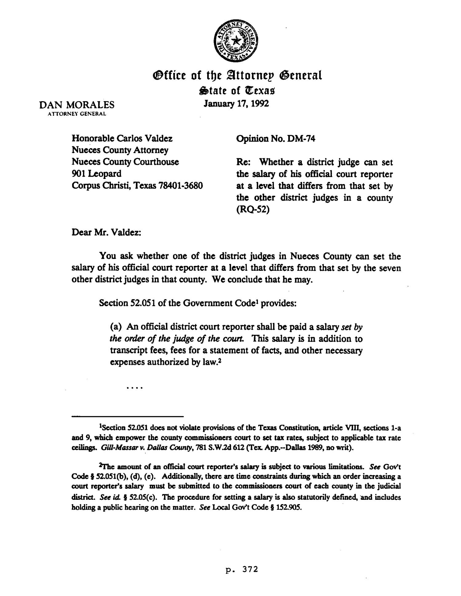 Texas Attorney General Opinion: DM-74 - Page 1 of 3 - The
