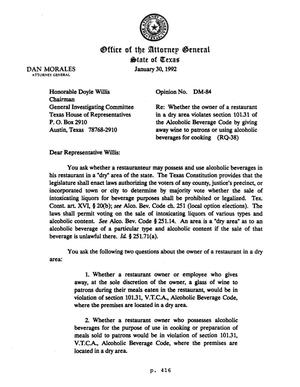 Primary view of object titled 'Texas Attorney General Opinion: DM-84'.