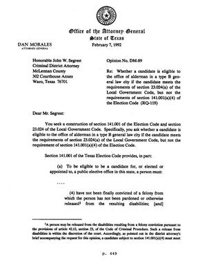 Primary view of object titled 'Texas Attorney General Opinion: DM-89'.