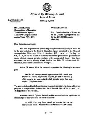 Primary view of object titled 'Texas Attorney General Opinion: DM-93'.