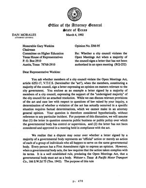 Primary view of object titled 'Texas Attorney General Opinion: DM-95'.