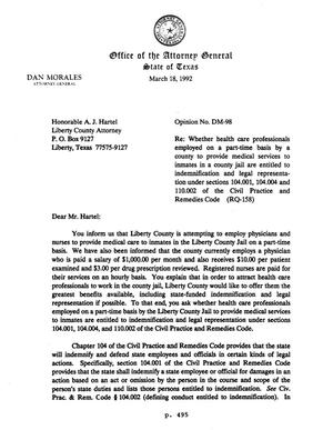 Primary view of object titled 'Texas Attorney General Opinion: DM-98'.