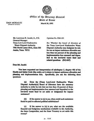 Primary view of object titled 'Texas Attorney General Opinion: DM-101'.
