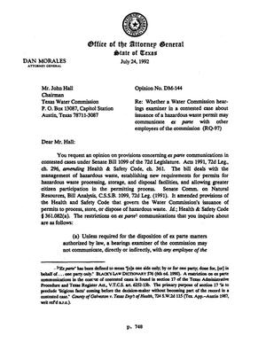 Primary view of object titled 'Texas Attorney General Opinion: DM-144'.