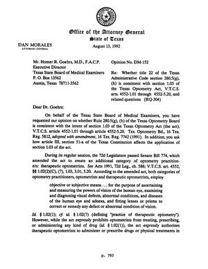 Primary view of object titled 'Texas Attorney General Opinion: DM-152'.