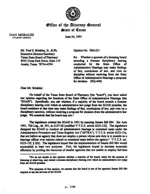 Primary view of object titled 'Texas Attorney General Opinion: DM-231'.