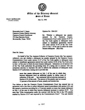 Primary view of object titled 'Texas Attorney General Opinion: DM-235'.