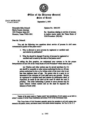 Primary view of object titled 'Texas Attorney General Opinion: DM-250'.