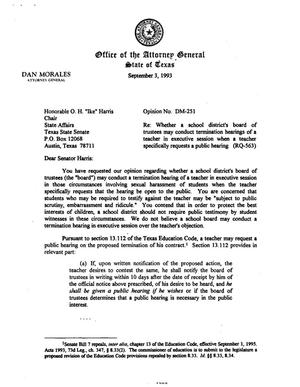 Primary view of object titled 'Texas Attorney General Opinion: DM-251'.