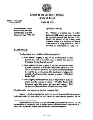 Primary view of object titled 'Texas Attorney General Opinion: DM-262'.