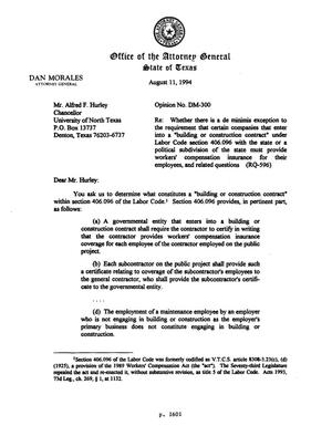Primary view of object titled 'Texas Attorney General Opinion: DM-300'.