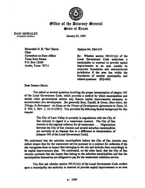Primary view of object titled 'Texas Attorney General Opinion: DM-319'.