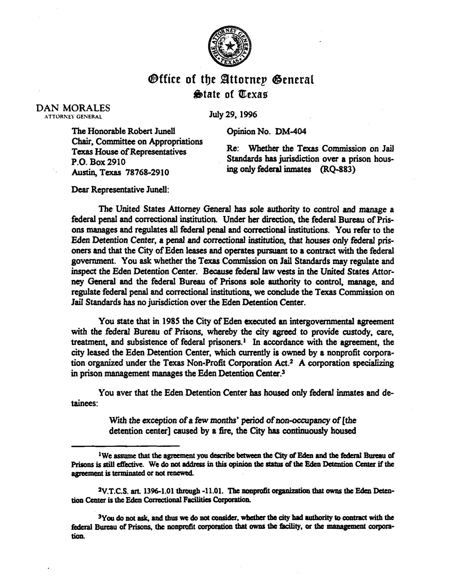 Texas Attorney General Opinion Dm 404 The Portal To Texas History