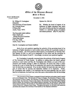 Primary view of object titled 'Texas Attorney General Opinion: DM-421'.