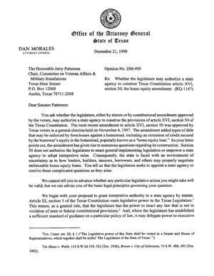 Primary view of object titled 'Texas Attorney General Opinion: DM-495'.