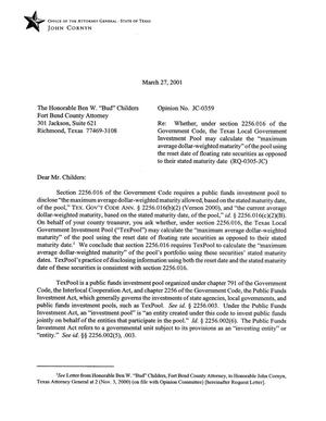 Primary view of object titled 'Texas Attorney General Opinion: JC-359'.