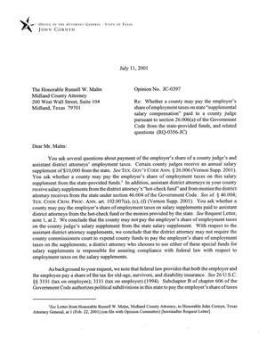 Primary view of object titled 'Texas Attorney General Opinion: JC-397'.