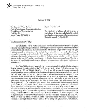 Primary view of object titled 'Texas Attorney General Opinion: JC-460'.