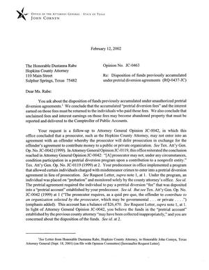 Primary view of object titled 'Texas Attorney General Opinion: JC-463'.