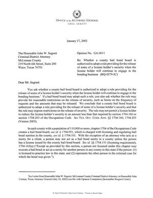 Primary view of object titled 'Texas Attorney General Opinion: GA-11'.