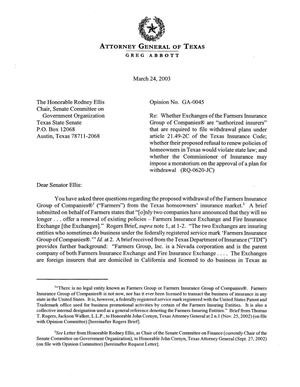 Primary view of object titled 'Texas Attorney General Opinion: GA-45'.