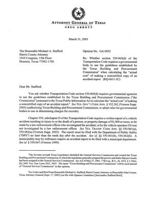 Primary view of object titled 'Texas Attorney General Opinion: GA-52'.