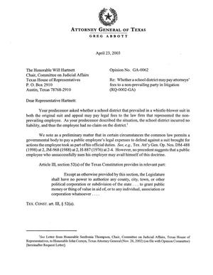 Primary view of object titled 'Texas Attorney General Opinion: GA-62'.
