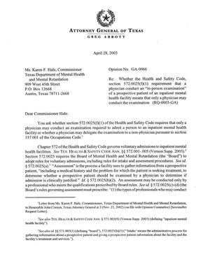 Primary view of object titled 'Texas Attorney General Opinion: GA-66'.