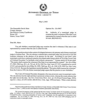 Primary view of object titled 'Texas Attorney General Opinion: GA-67'.