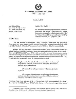 Primary view of object titled 'Texas Attorney General Opinion: GA-114'.