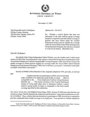 Primary view of object titled 'Texas Attorney General Opinion: GA-119'.