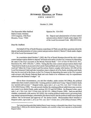 Primary view of Texas Attorney General Opinion: GA-0262