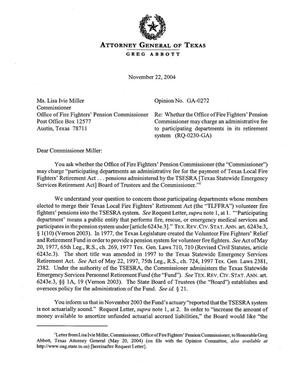 Primary view of object titled 'Texas Attorney General Opinion: GA-0272'.