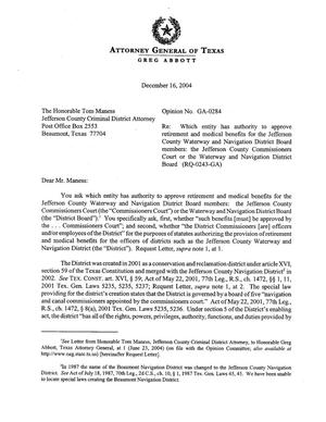 Primary view of object titled 'Texas Attorney General Opinion: GA-0284'.