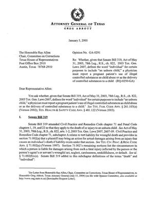 Primary view of object titled 'Texas Attorney General Opinion: GA-0291'.