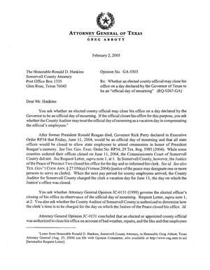 Primary view of object titled 'Texas Attorney General Opinion: GA-0303'.
