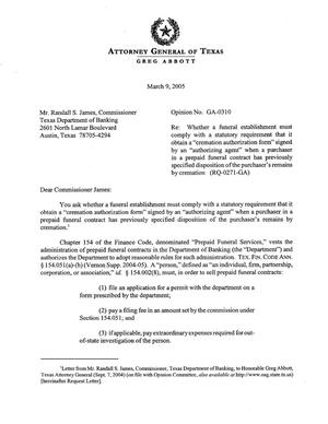 Primary view of object titled 'Texas Attorney General Opinion: GA-0310'.