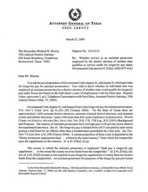 Primary view of object titled 'Texas Attorney General Opinion: GA-0312'.