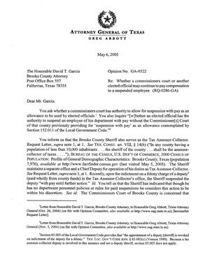 Primary view of object titled 'Texas Attorney General Opinion: GA-0322'.