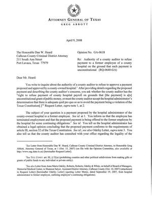 Primary view of object titled 'Texas Attorney General Opinion: GA-0618'.