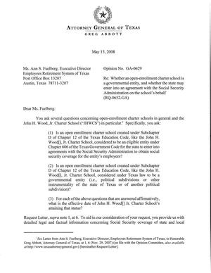 Primary view of object titled 'Texas Attorney General Opinion: GA-0629'.