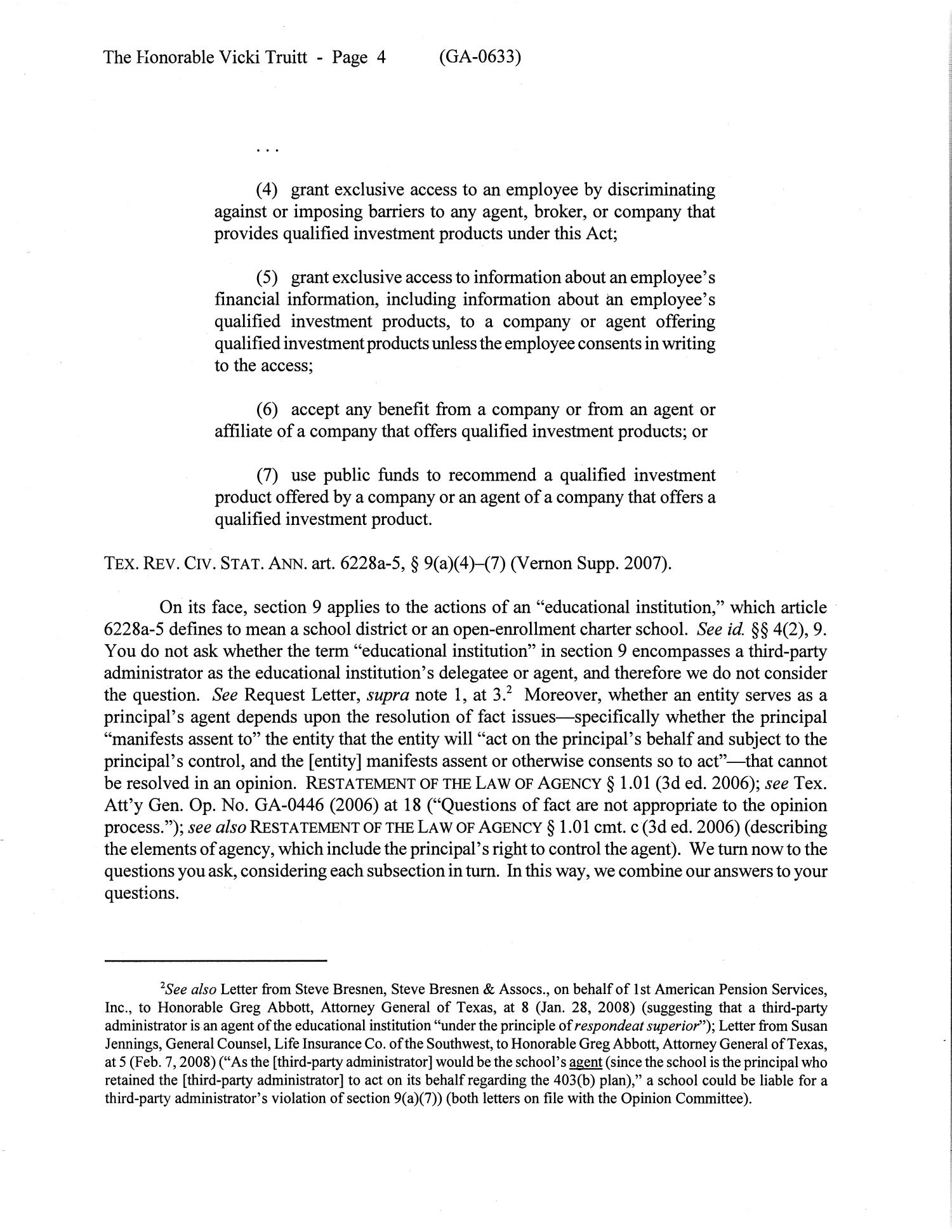 Texas Attorney General Opinion: GA-0633                                                                                                      [Sequence #]: 4 of 9