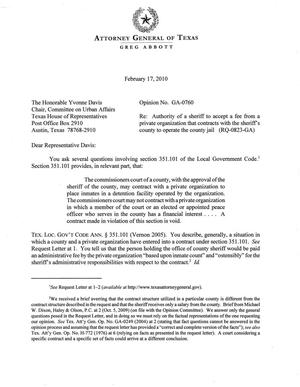 Primary view of object titled 'Texas Attorney General Opinion: GA-0760'.