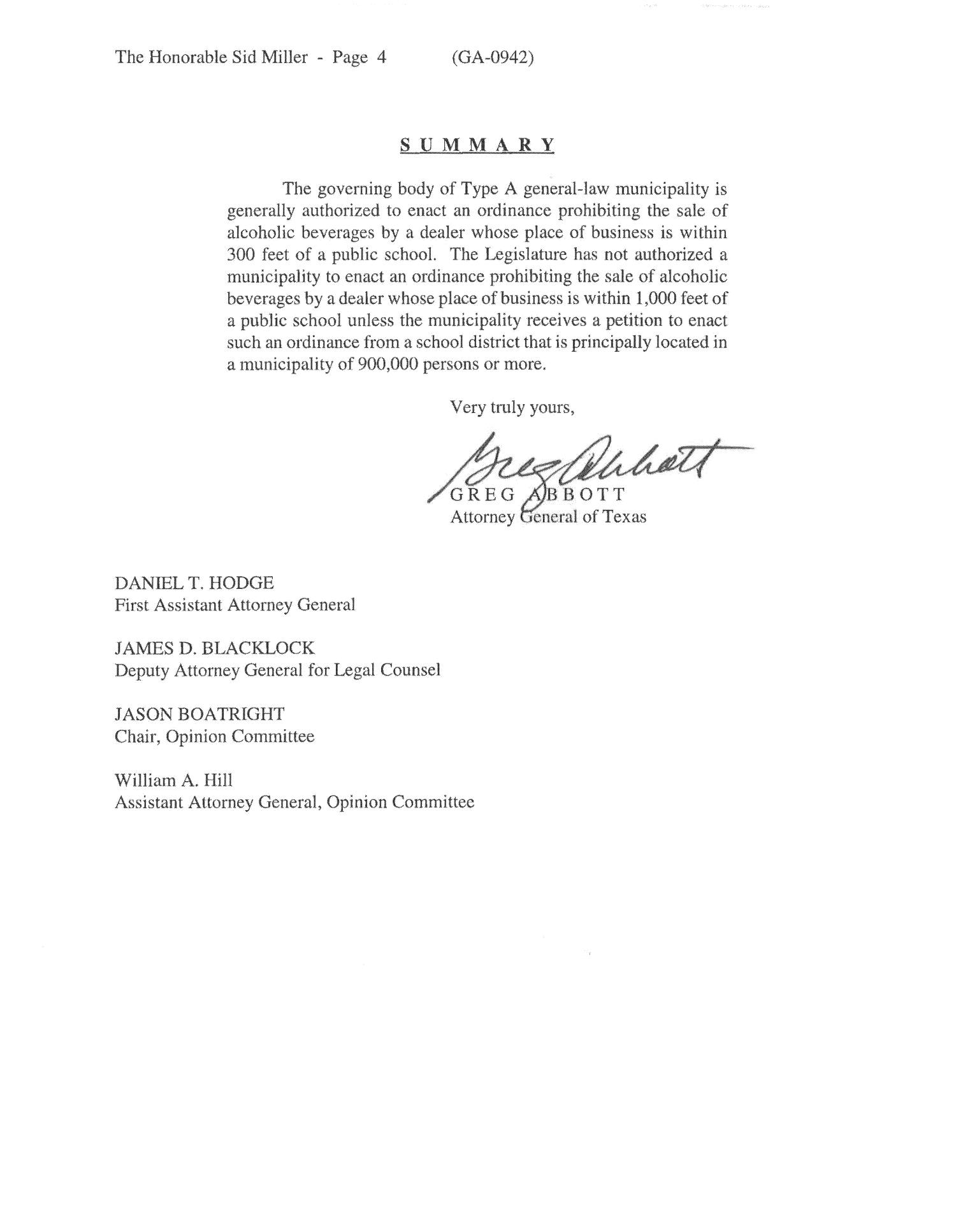Texas Attorney General Opinion: GA-0942                                                                                                      [Sequence #]: 4 of 4