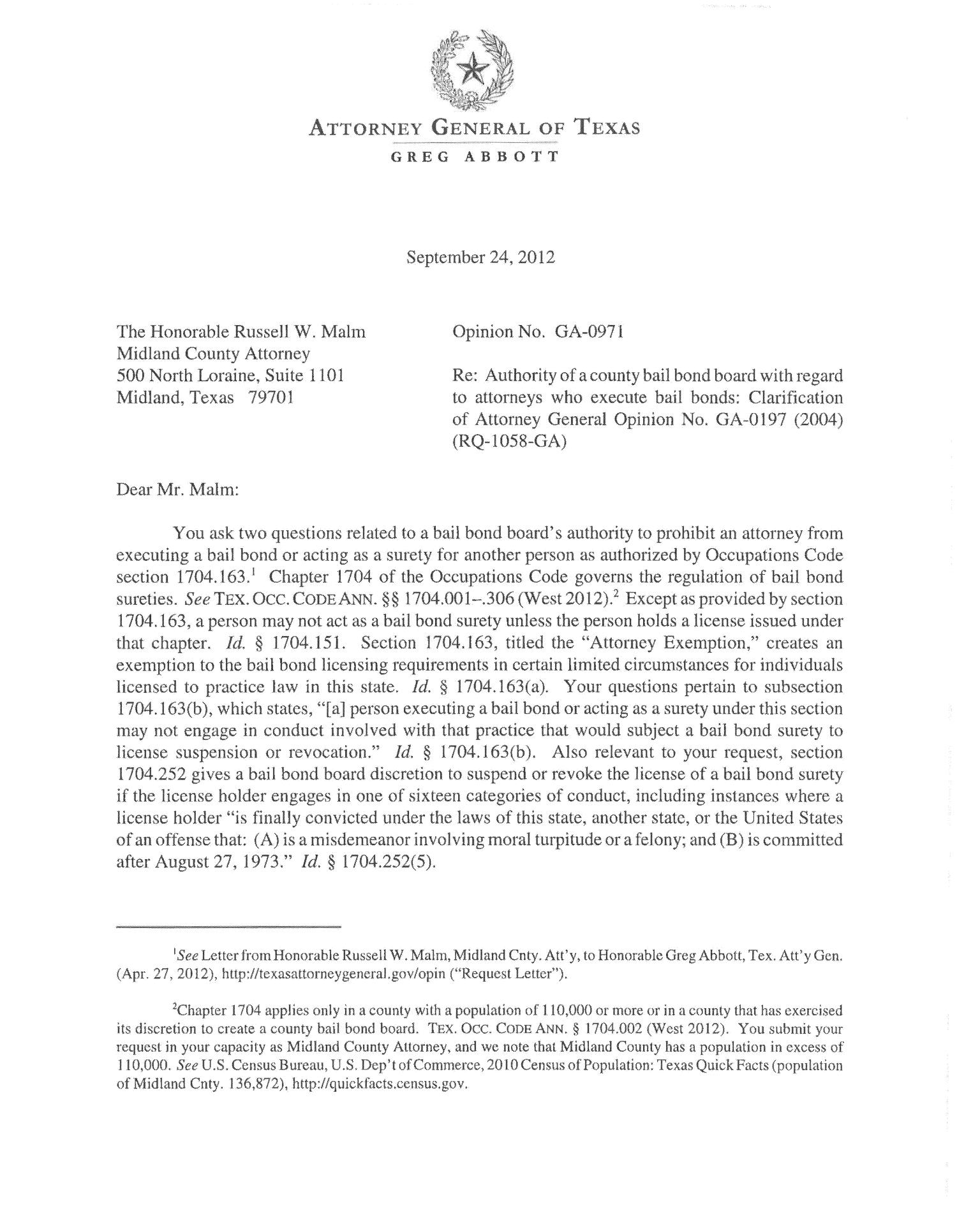 Texas Attorney General Opinion: GA-0971                                                                                                      [Sequence #]: 1 of 3