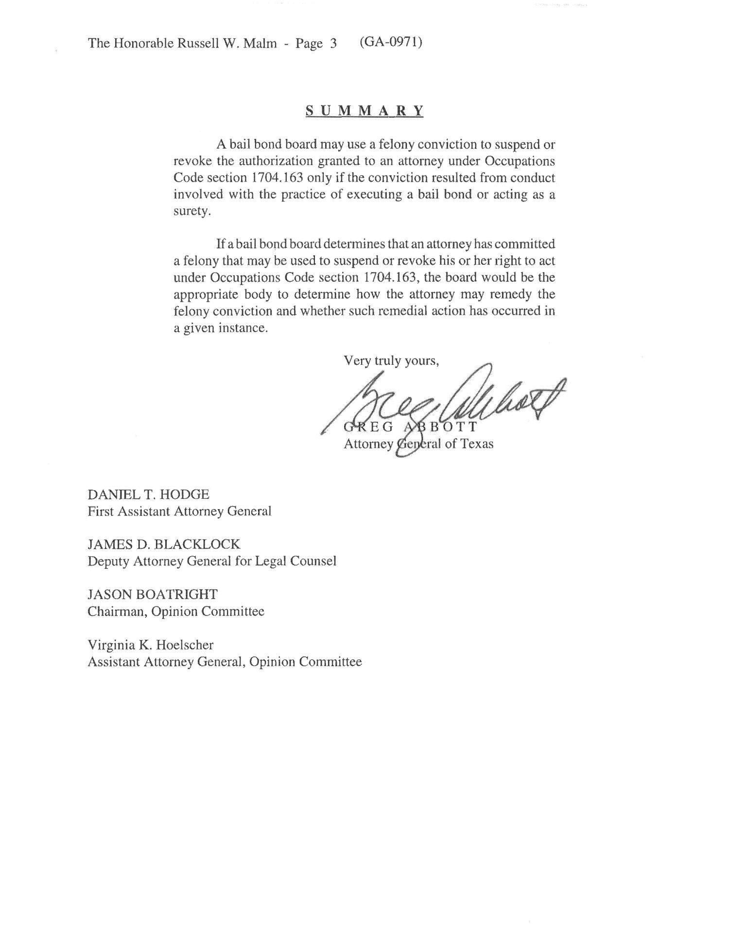 Texas Attorney General Opinion: GA-0971                                                                                                      [Sequence #]: 3 of 3