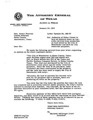 Primary view of object titled 'Texas Attorney General Opinion: MS-3'.