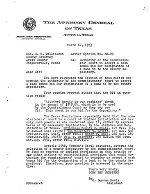 Primary view of object titled 'Texas Attorney General Opinion: MS-9'.